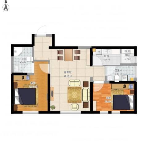 简约风格2室1厅2卫1厨96.00㎡户型图