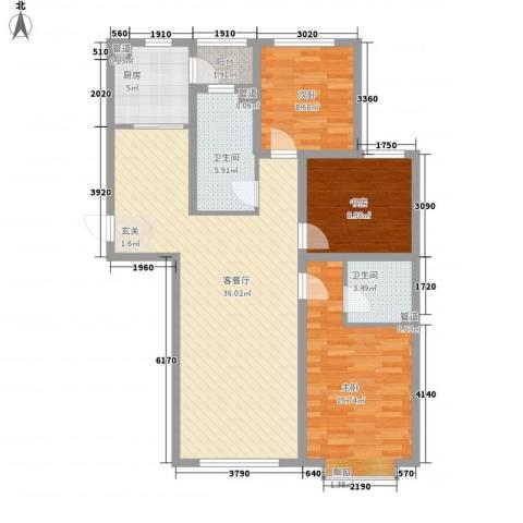 泰丰 时代城二期3室1厅2卫1厨123.00㎡户型图