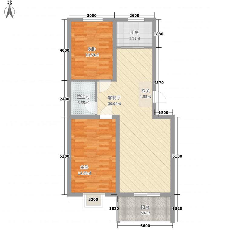 御景园88.63㎡C户型2室2厅1卫