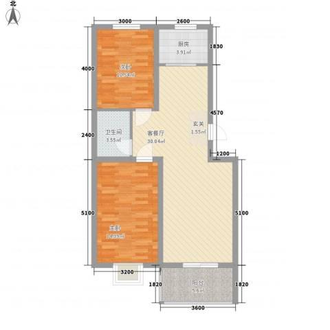 御景园2室1厅1卫1厨89.00㎡户型图