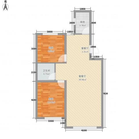 辽阳第一城2室1厅1卫1厨89.00㎡户型图
