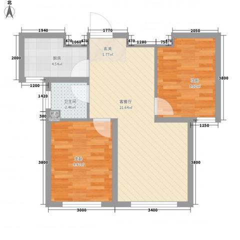 辽阳第一城2室1厅1卫1厨66.00㎡户型图