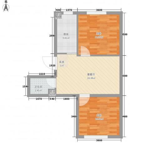 辽阳第一城2室1厅1卫1厨46.01㎡户型图
