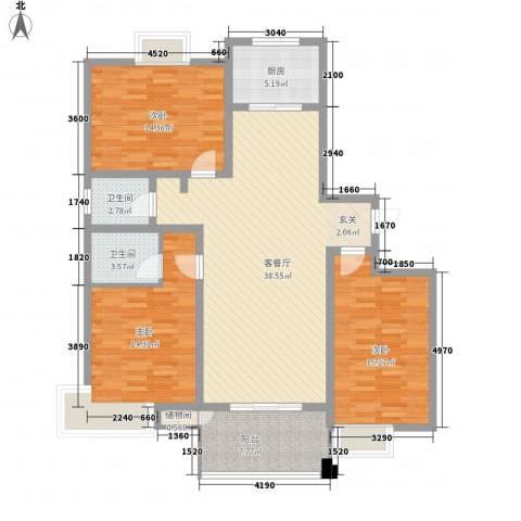 帝都・东城国际3室1厅2卫1厨146.00㎡户型图