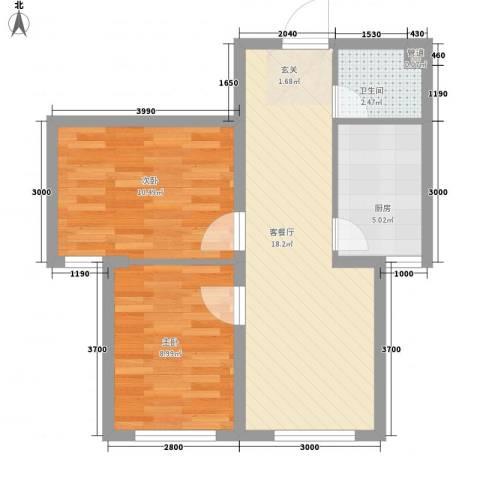 辽阳第一城2室1厅1卫1厨68.00㎡户型图