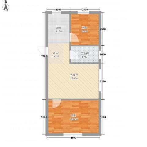 宗裕国际鑫城2室1厅1卫0厨71.00㎡户型图