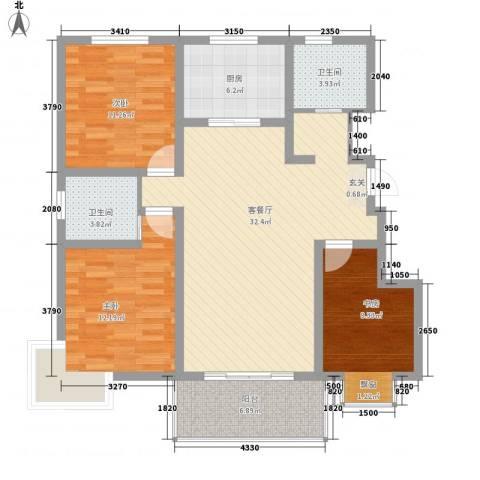 帝都・东城国际3室1厅2卫1厨123.00㎡户型图