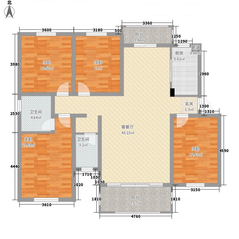 盛唐・四月天141.32㎡多层3-08-09户型4室2厅2卫1厨