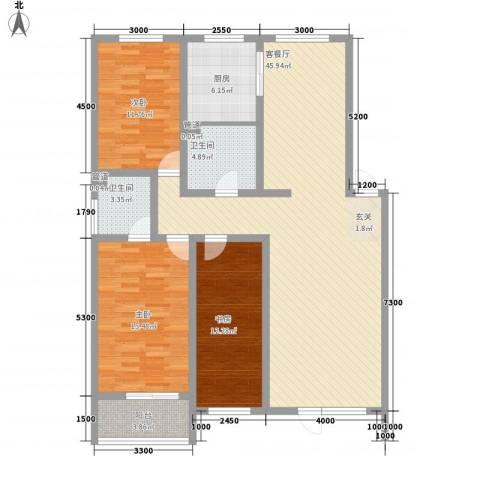 山青海蓝3室1厅2卫1厨149.00㎡户型图