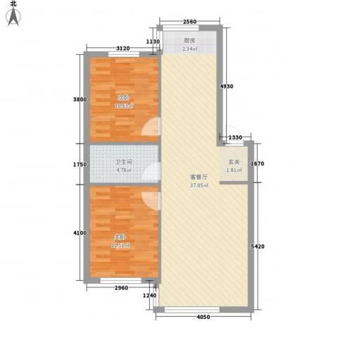 宗裕国际鑫城2室1厅1卫0厨86.00㎡户型图