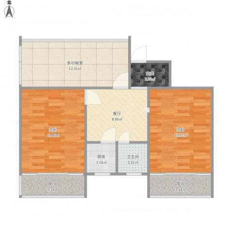 罗汉巷2室1厅1卫1厨82.00㎡户型图