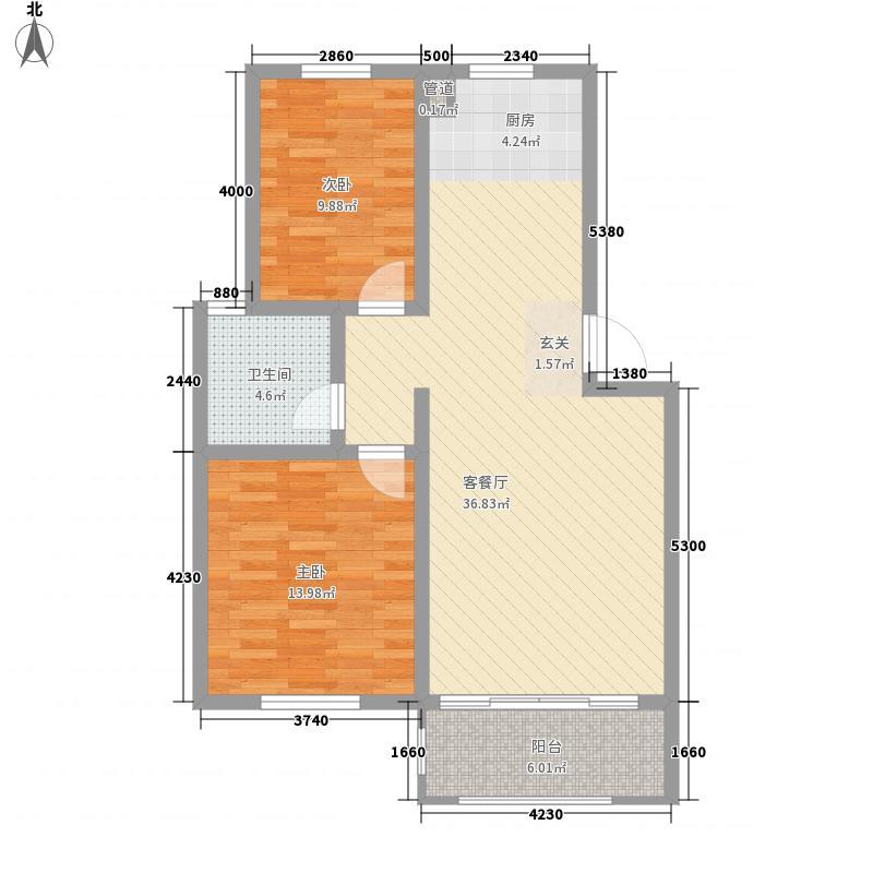 盛唐・四月天78.60㎡多层3-10户型2室2厅1卫1厨