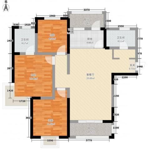 帝都・东城国际3室1厅2卫1厨88.70㎡户型图