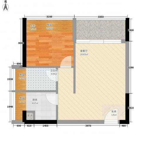 御景江山1室1厅1卫1厨57.00㎡户型图