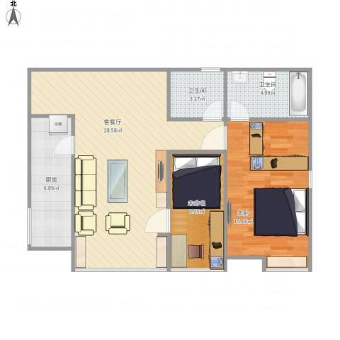 华欧理想城1室1厅2卫1厨90.00㎡户型图