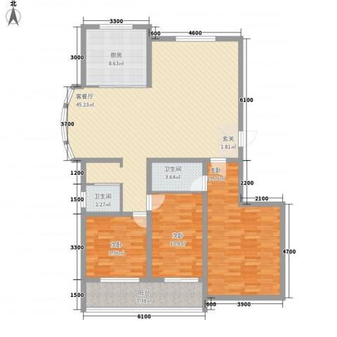 润东花园3室1厅2卫1厨138.00㎡户型图