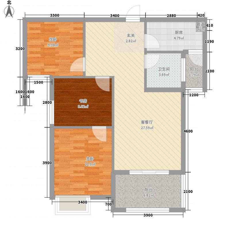 嘉泰银河湾8.17㎡银河湾E户型3室2厅1卫1厨