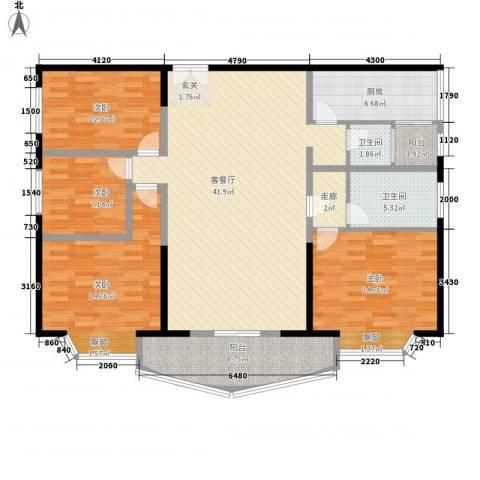 名都名泰阁4室1厅2卫1厨159.00㎡户型图