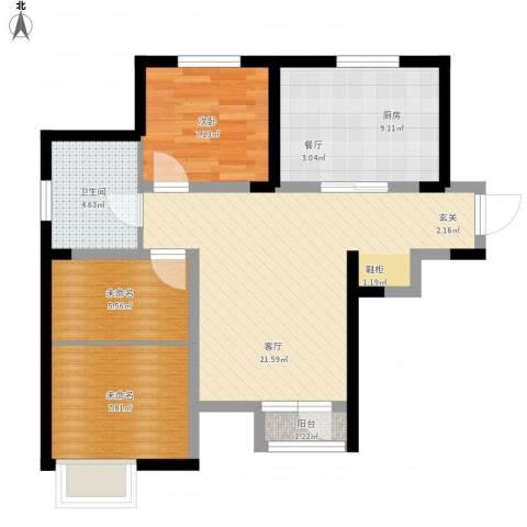 学仕府花园1室1厅1卫1厨83.00㎡户型图