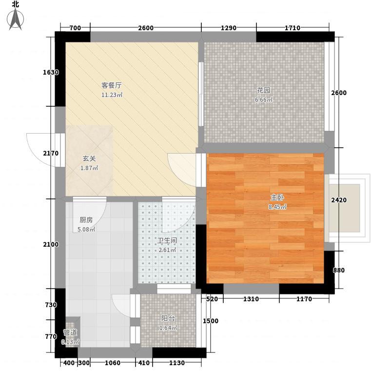 御景华庭46.68㎡1栋1单元4#户型1室1厅1卫1厨