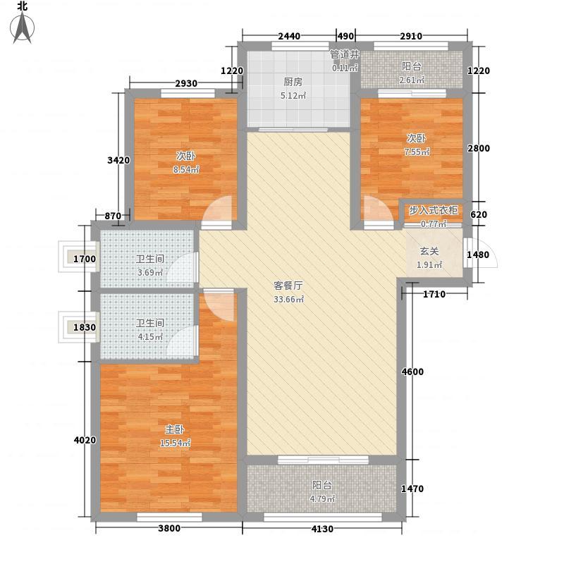 凯达王朝124.35㎡二期户型3室2厅2卫1厨