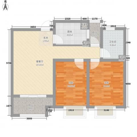 浮来春公馆2室1厅1卫1厨88.00㎡户型图