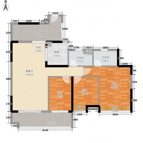 廉江锦绣华景3室1厅2卫1厨133.00㎡户型图