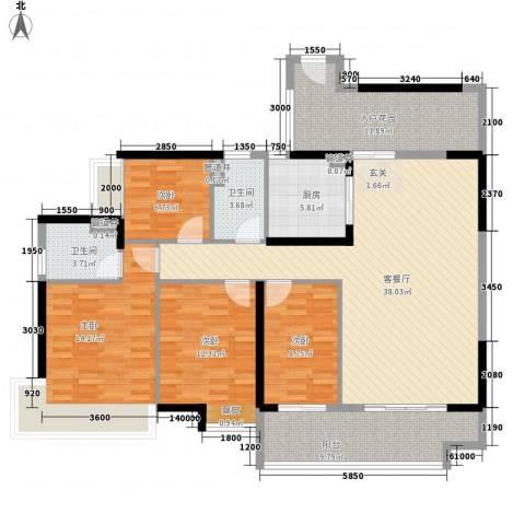 廉江锦绣华景4室1厅2卫1厨143.00㎡户型图