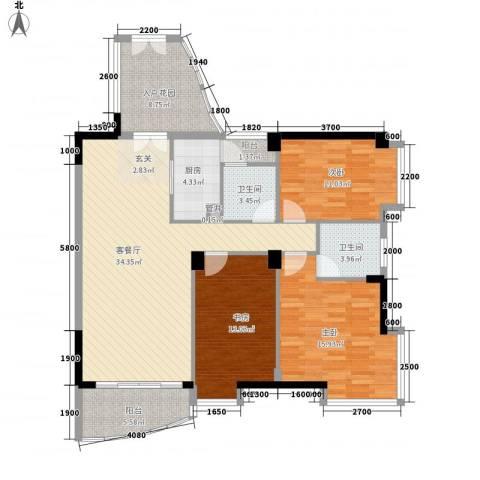 利景花园3室1厅2卫1厨223.00㎡户型图