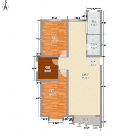 富山花园3室1厅1卫1厨123.00㎡户型图