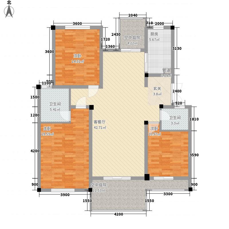 蝶景湾・御江山134.00㎡A3户型3室2厅2卫1厨