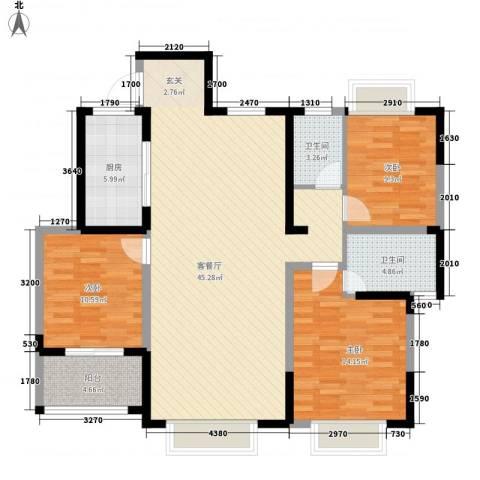 兰亭苑3室1厅2卫1厨136.00㎡户型图
