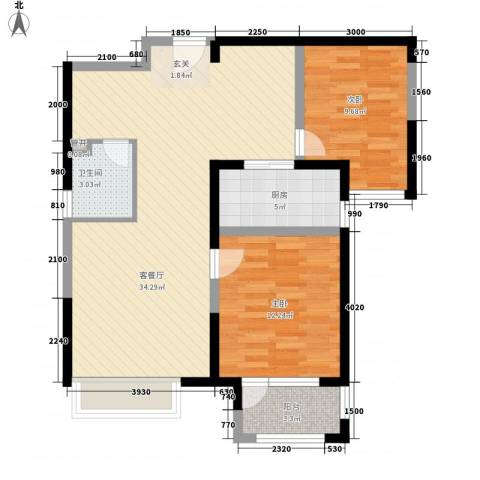 兰亭苑2室1厅1卫1厨95.00㎡户型图