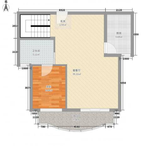东兰兴城玉兰苑1室1厅1卫1厨135.00㎡户型图