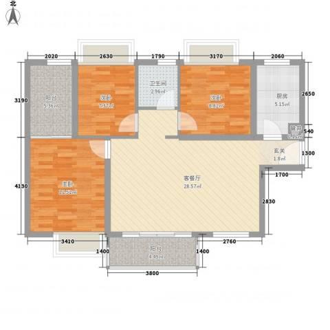景湖时代城3室1厅1卫1厨100.00㎡户型图