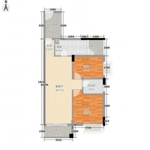 利丰城市花园2室1厅1卫1厨89.00㎡户型图