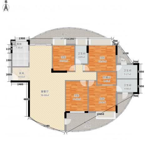 利丰城市花园4室1厅3卫1厨198.00㎡户型图