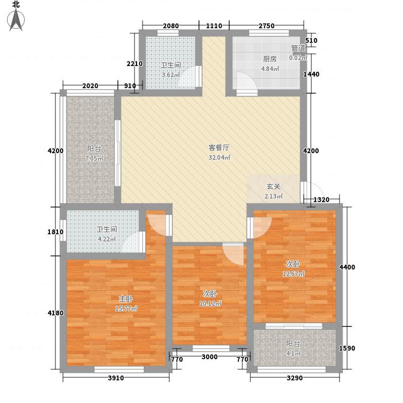 米兰春天115.30㎡D3户型3室2厅2卫1厨