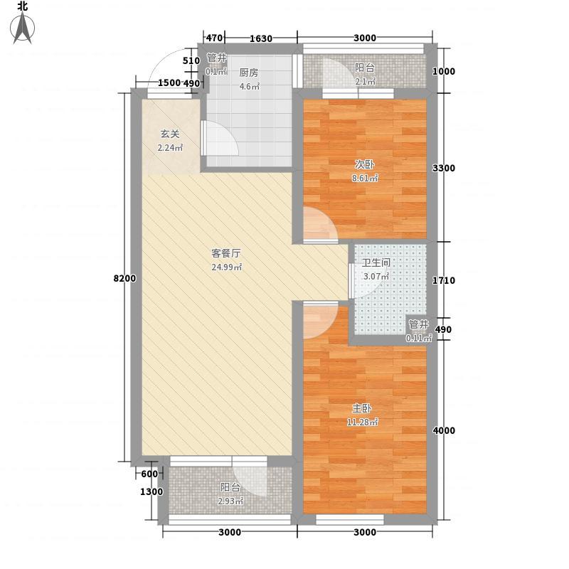 世代悦龙湾82.65㎡4#J户型2室2厅1卫1厨