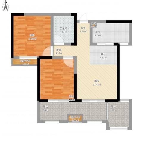 桃苑红杉郡2室1厅1卫1厨105.00㎡户型图