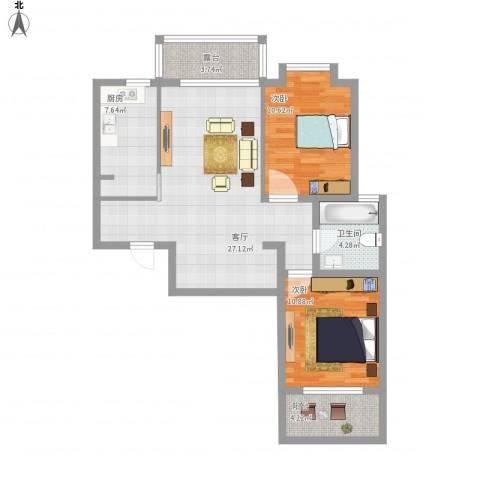 大德世家2室1厅1卫1厨89.00㎡户型图