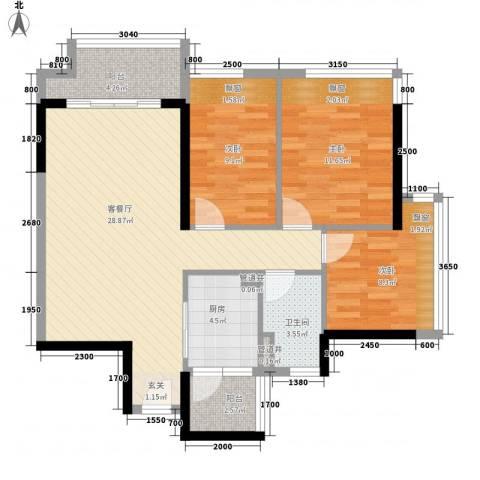 廉江锦绣华景3室1厅1卫1厨73.03㎡户型图