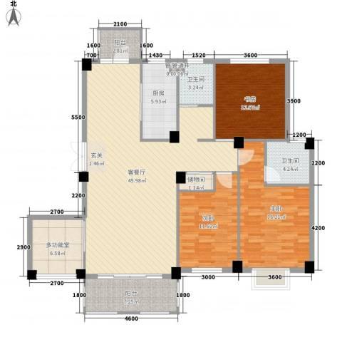 南郡天下3室1厅2卫1厨153.00㎡户型图