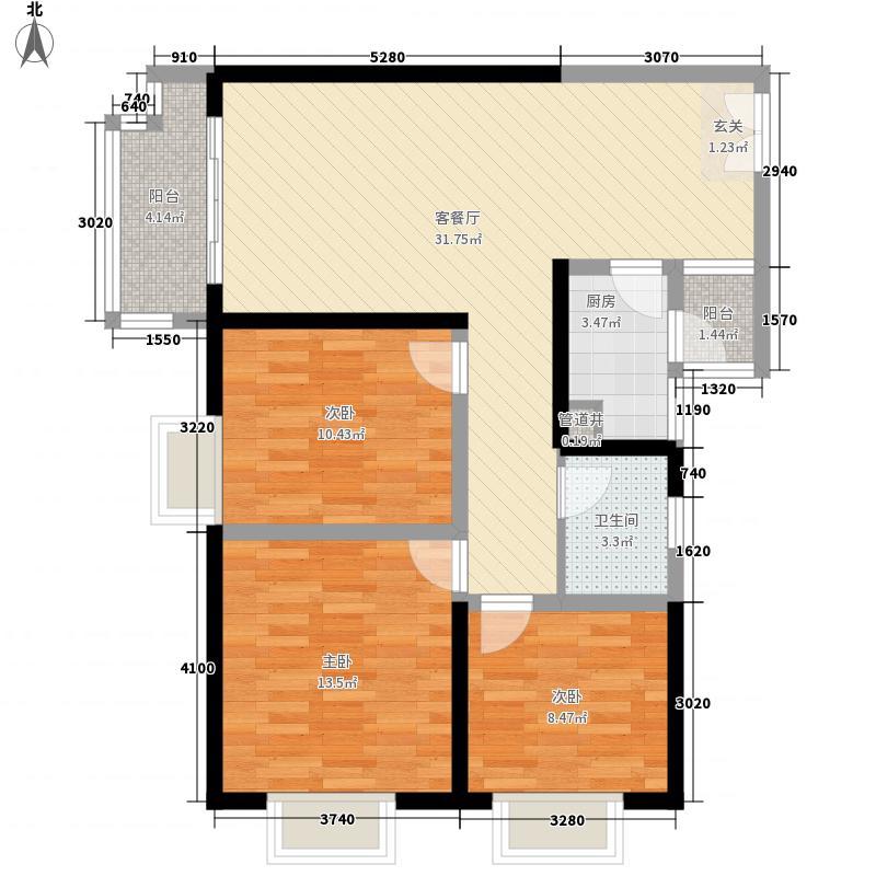 万嘉・尚都国际111.40㎡2、3、4#楼户型3室2厅1卫1厨