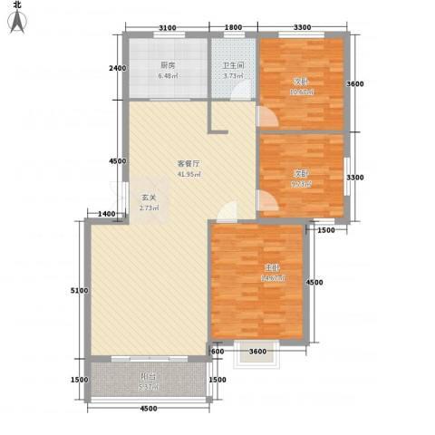 南郡天下3室1厅1卫1厨114.00㎡户型图