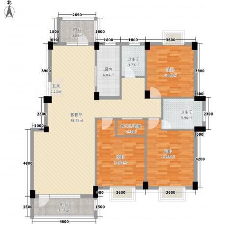 南郡天下3室1厅2卫1厨143.00㎡户型图