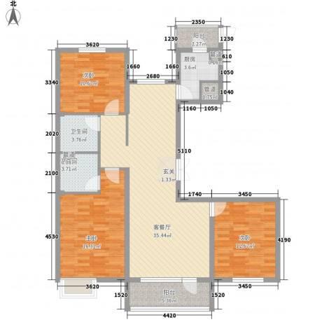 亿隆国际广场3室1厅2卫1厨136.00㎡户型图