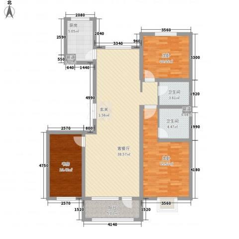 亿隆国际广场3室1厅2卫1厨134.00㎡户型图