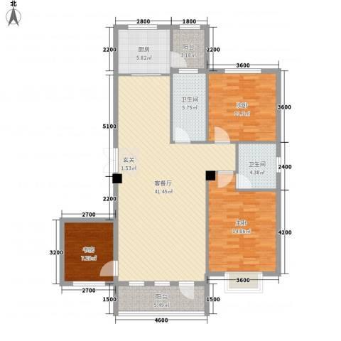 南郡天下3室1厅2卫1厨126.00㎡户型图