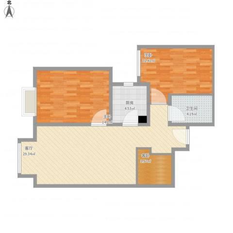 京贸国际城3室1厅1卫1厨96.00㎡户型图